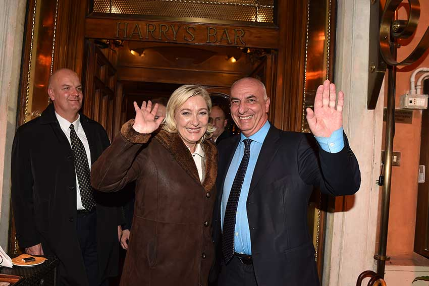 Marine Le Pen all'Harry's Bar di Roma.